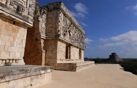 archaeological sites: Mayan Governors Palace - Uxmal, Mexico Stock Photo