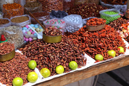 Insects on a market, a Snack, in Oaxaca, Mexico