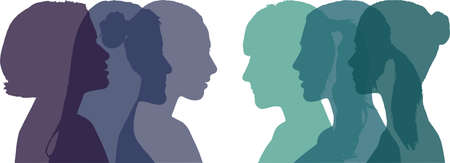 Profile of six different women, Vector