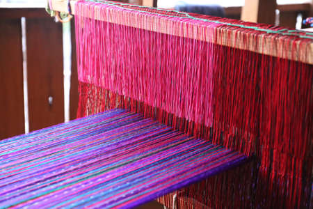 Weaving work - weaving machine in Guatemala Stock Photo - 81605731