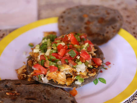 Typical delicious corn tortillas from Guatemala, Central America pupuseria, pupusas 写真素材