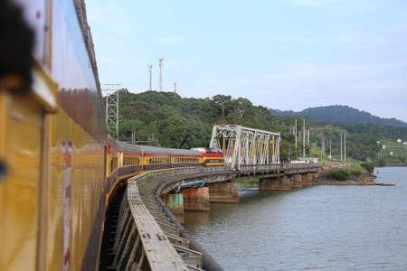 Panama Canal Railway, Train cross a bridge at May 2015 Editorial