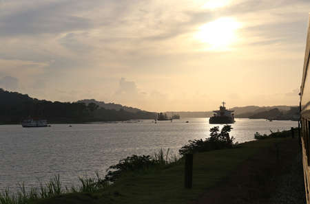 Sunset over the Panama Canal