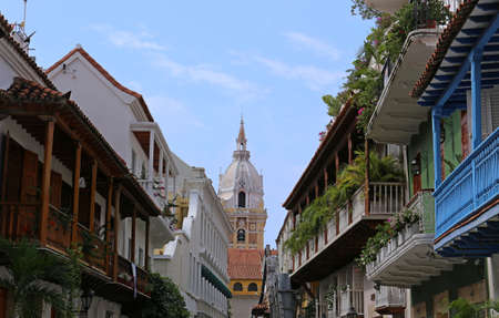 View of balconies leading to the cathedral in Cartagena, Colombia Stock Photo