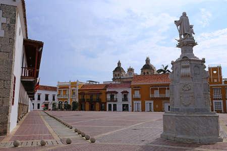 Plaza de la Aduana in the colonial center of Cartagena, Colombia