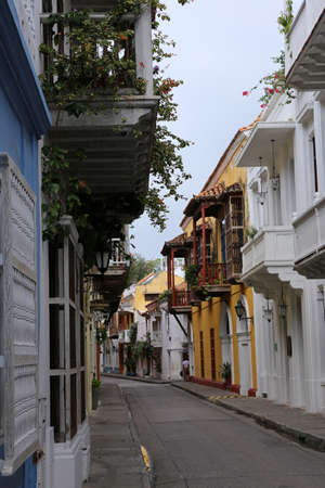 Colonial street in Cartagena, Colombia Stock Photo