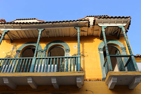 Windows and balcony in Cartagena, Colombia