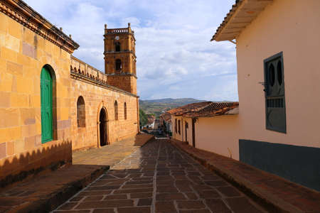 Small street in the colonial village of Barichara, near San Gil