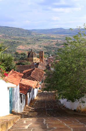 Overview from Barichara - Small street in the colonial village of Barichara, near San Gil