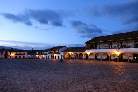 Villa de Leyva main square at night, Square in Villa de Leyva, Colombia - Sept 2015