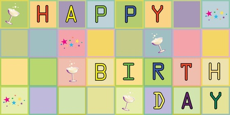 Happy birthday. Cartoon, colors. Illustration card Stock Illustration - 9689102