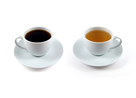 A cup of coffee and a cup of tea on isolated background Lizenzfreie Bilder