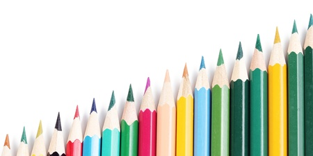 School colors pencils on isolated background Stock Photo - 9689416