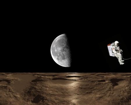 gravedad: Mosca de astronauta en el espacio, con asteroides y la Luna en segundo plano