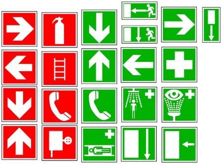 Warning and indication signals on isolated background. Illustration illustration