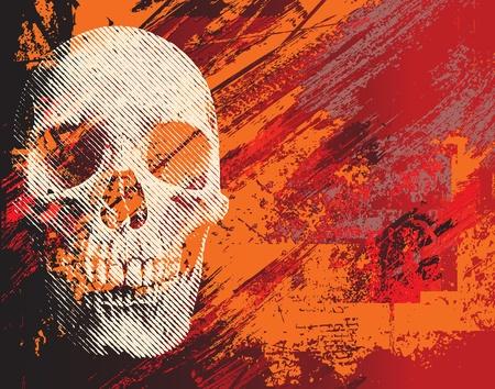 Skull on abstract background. Illustration for Halloween