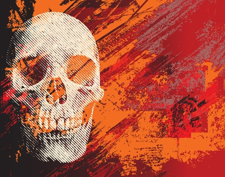 Skull on abstract background. Illustration for Halloween