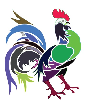 Artistic colors cock. Beautiful artistic colors illustration Stock Illustration - 9836534