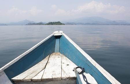 Boat on the Lake Kivu Stock Photo