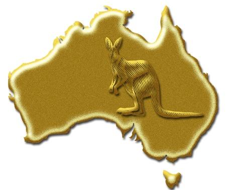 Golden Australia map and Australian kangaroo symbol