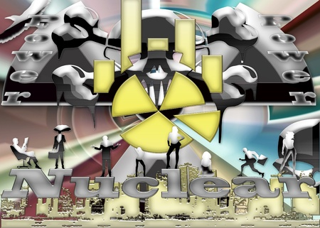 Nuclear power. Urban street artistic background illustration Stock Illustration - 9978922