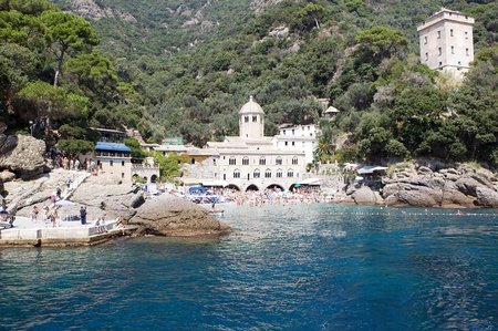 abbey: San fruttuoso Bay, Portofono Mount Park, Italy. The abbey and Doria tower