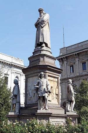 scala: Leonardo monument at the La Scala square, Milan, Italy