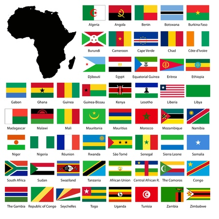 African flags and Continent map Stock Photo - 11145754