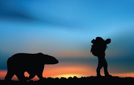 Extreme explorer trekker and bear Imagens - 11206105