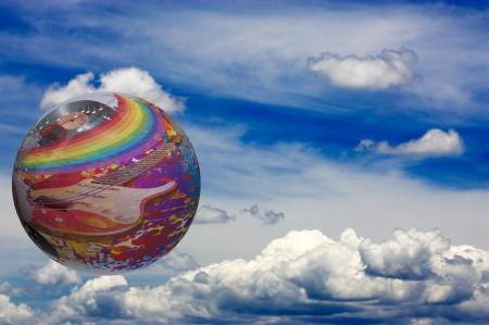 Musik auf der ganzen Welt. Konzeptionelle Darstellung Standard-Bild