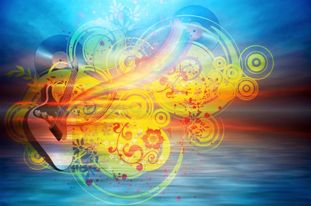 Music rainbow on the ocean background Stock Photo - 11595240