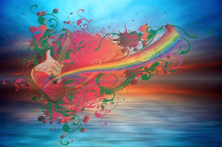 Music rainbow on the ocean sunset background Stock Photo - 11595235