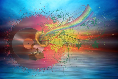 Music rainbow on the ocean sunset background Stock Photo - 11595237