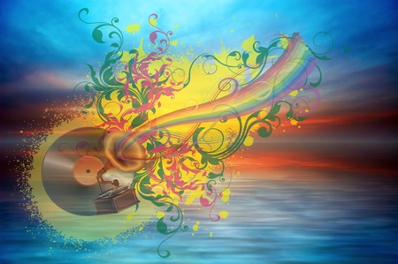 Music rainbow on the ocean sunset background Stock Photo - 11595236