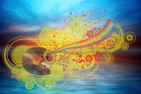 Music rainbow on the ocean sunset background Stock Photo - 11595241