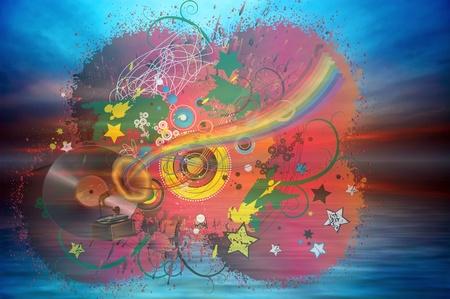 Music rainbow on the ocean sunset background Stock Photo - 11595242