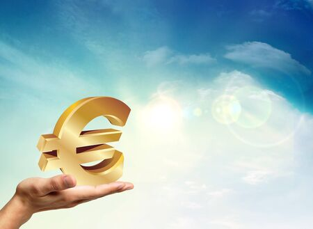 European economy with na golden euro ready to fall Stock Photo - 11795418