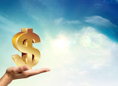 American economy with a golden dollar  Stock Photo - 11795562