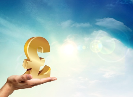 Great Britain economy with a golden pound Stock Photo - 11795561