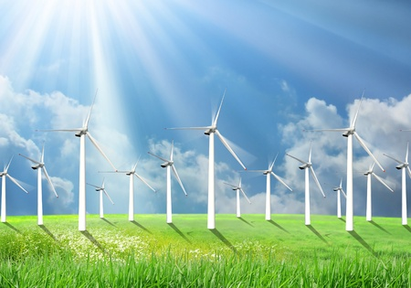powe: Renewable energy by wind farm: a group of wind turbines