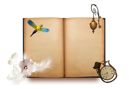 blanked: Old blanked book with parrot, flower, lantern and pocket watch