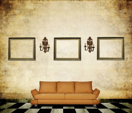 forniture: Vintage room with forniture, grunge floor and wall with lanterns and frames Stock Photo