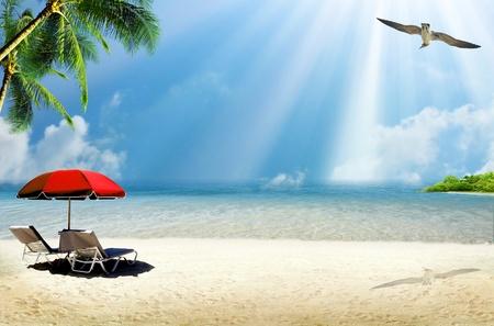 Tropical island: ocean sea and tropical beach with palm, beach umbrella and deck chair