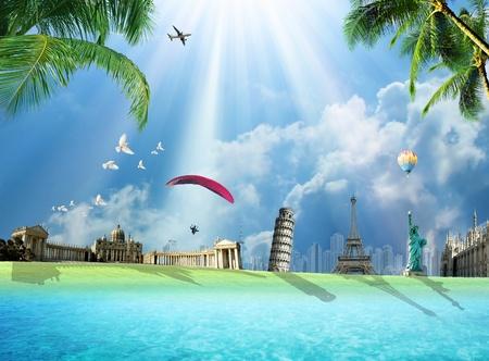 Travel around the world conceptual illustration with international landmarks Stock Photo