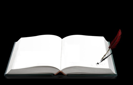 blanked: Open blanked book with pen on the black background