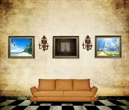 forniture: Habitaci�n con mobiliario y las fotos en la pared
