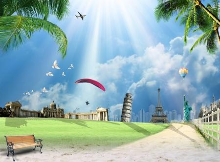 Travel around the world conceptual illustration with international landmarks Imagens