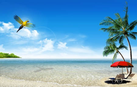 Tropical island: ocean sea and little tropical beach with palm, beach umbrella, deck chairs and parrot Stock Photo