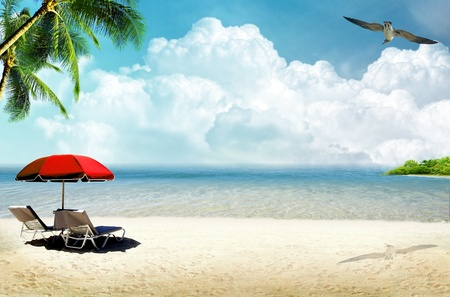Tropical island: ocean sea and tropical beach with palm, beach umbrella and deck chair photo