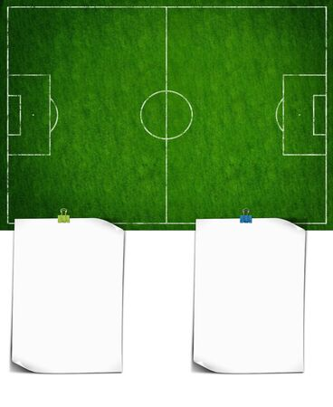 Football field or soccer field with papers photo